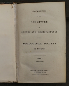 Proceedings of the Committee of Science and Correspondence of the Zoological Society of London. Credit: James Godwin.